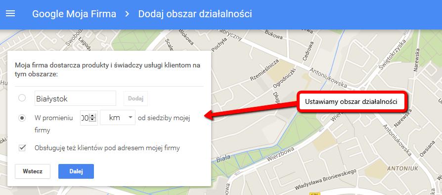 Dodajemy firmę do Google Moja Firma - obszar działania