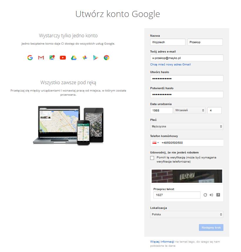 Tworzymy profil Google+