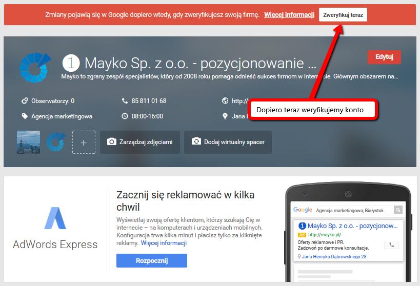 weryfikacja Google Moja Firma