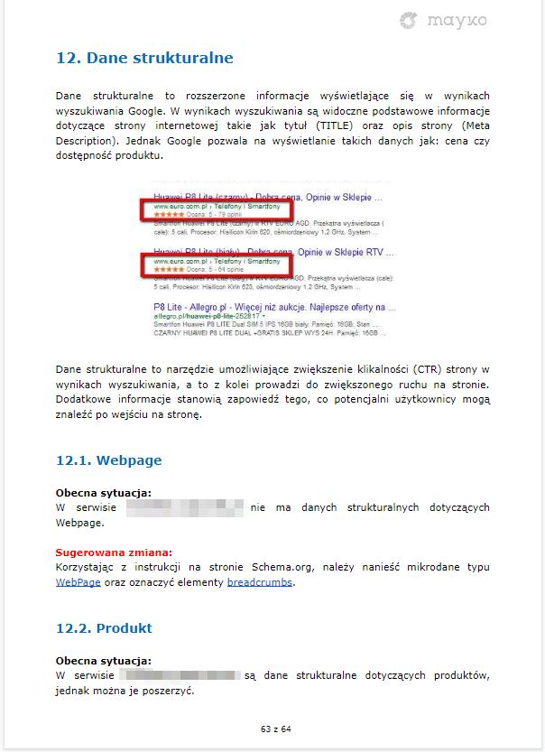Wytyczne danych strukturalnych – przykładowy audyt SEO firmy MAYKO