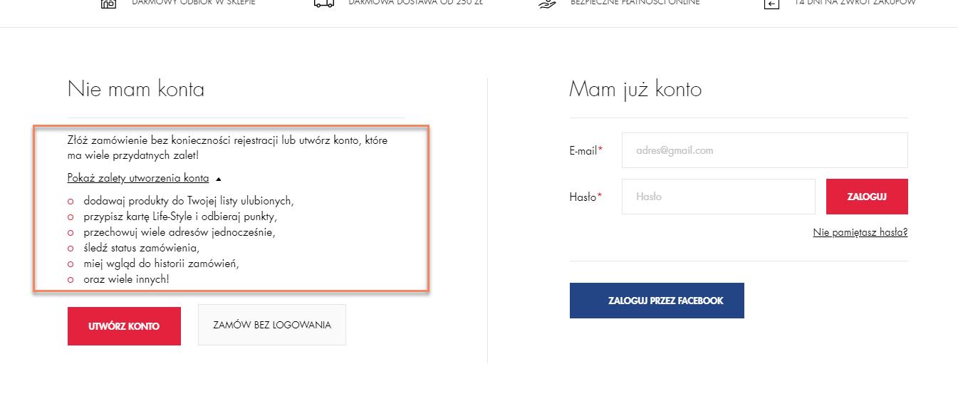 Pokaż korzyści rejestracji - przykład superpharm_pl