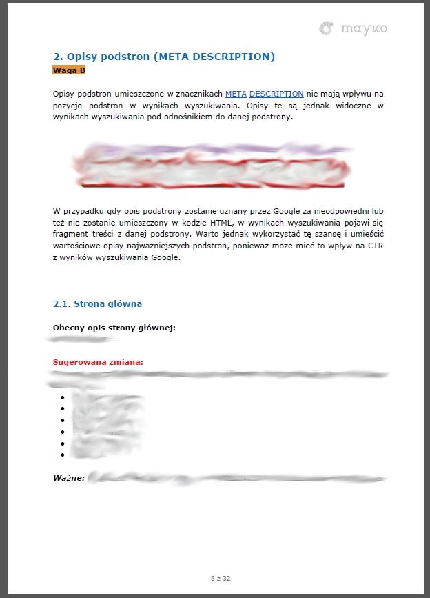 Analiza META DESCRIPTION z przykładowego audytu SEO przygotowanego przez firmę Mayko