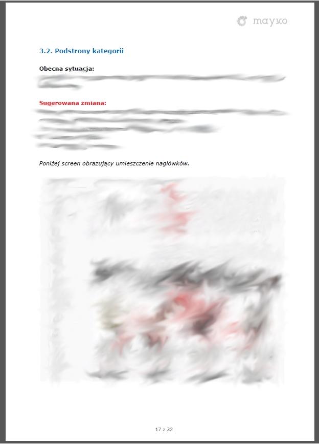 Analiza nagłówków H z przykładowego audytu SEO przygotowanego przez firmę Mayko