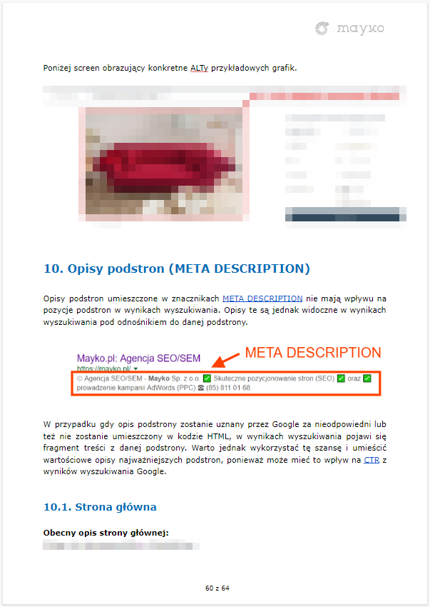 Wytyczne odnośnie atrybutów ALT oraz META DESCRIPTION – przykładowy audyt SEO firmy MAYKO