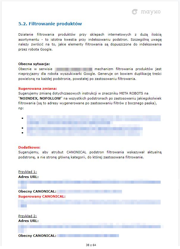 Wytyczne odnośnie filtrowania produktów – przykładowy audyt SEO firmy MAYKO