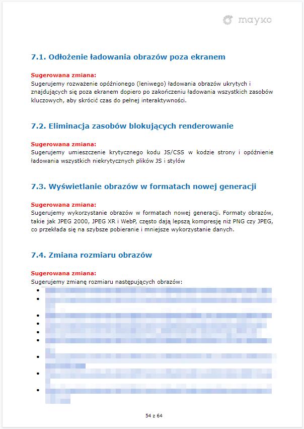 Wytyczne odnośnie poprawy szybkości wczytywania serwisu – przykładowy audyt SEO firmy MAYKO