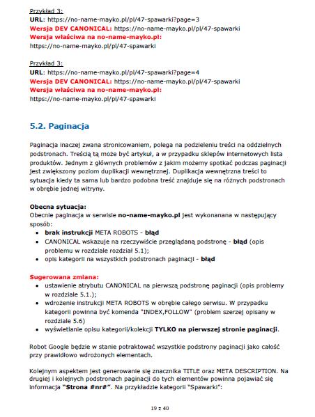 Wytyczne odnośnie paginacji – przykładowy audyt SEO firmy MAYKO