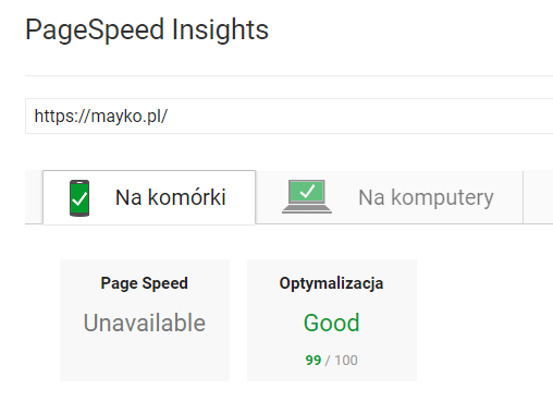 PageSpeed Insights MAYKO