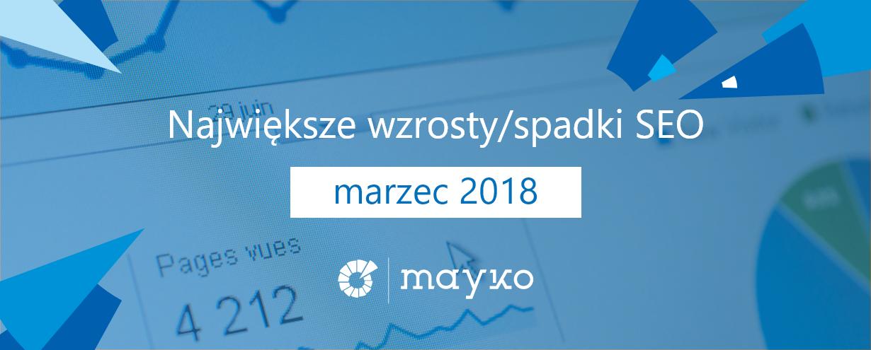 Największe wzrostyspadki SEO - marzec 2018
