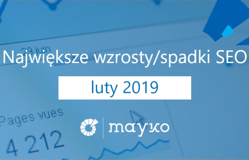 Największe wzrostyspadki SEO - LUTY 2019