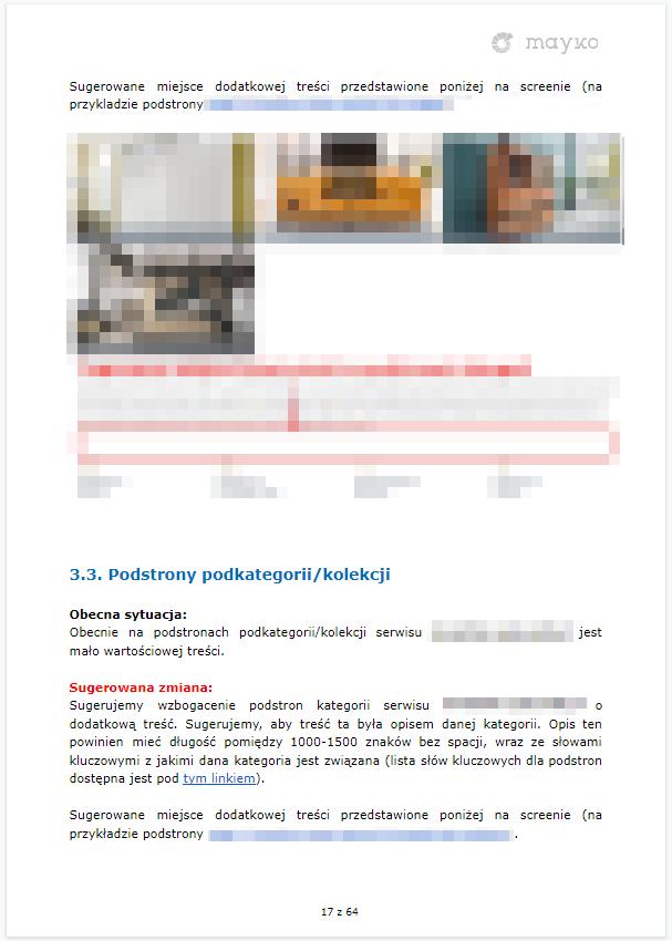 Wytyczne co do modyfikacji na stronie - przykładowy audyt SEO firmy MAYKO