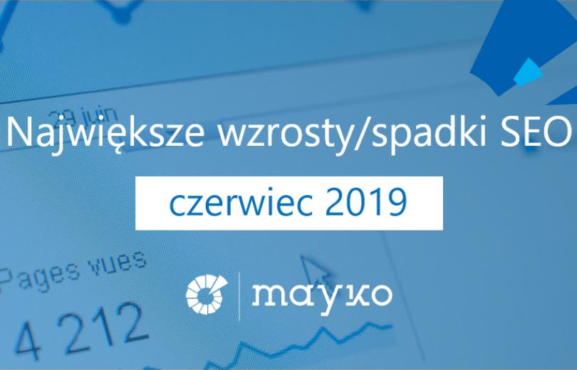 Największe wzrostyspadki SEO - CZERWIEC 2019