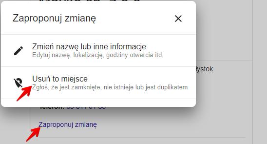 usunięcie cudzej wizytówki w Google Moja Firma