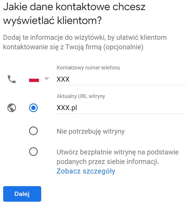 numer telefonu w Google Moja Firma