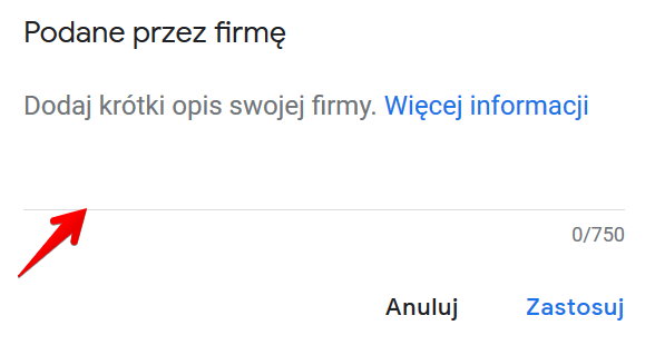 Opis firmy w Google Moja Firma