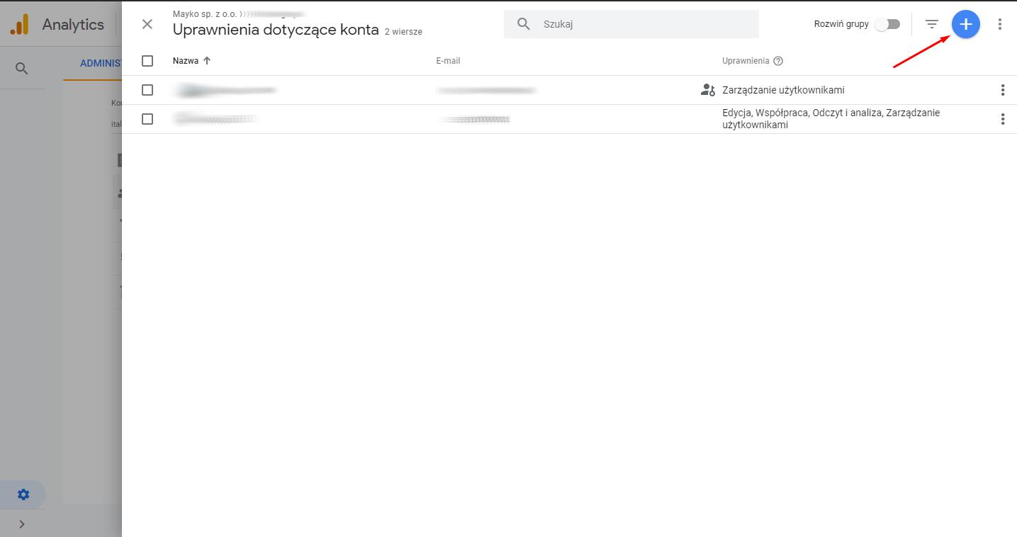 Krok po kroku - nadanie dostępu do Google Analytics2