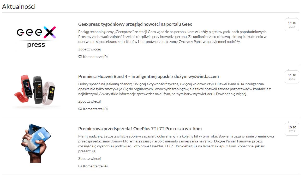 Sklep internetowy Xkom regularnie informuje o newsach branżowych