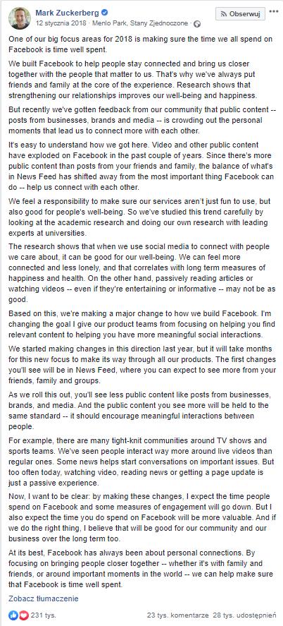 Zuckeberg wypowiada się na temat zmian w news feedzie