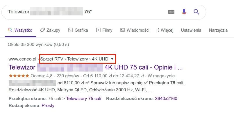 Przykład breadcrumbs w wynikach wyszukiwania Google