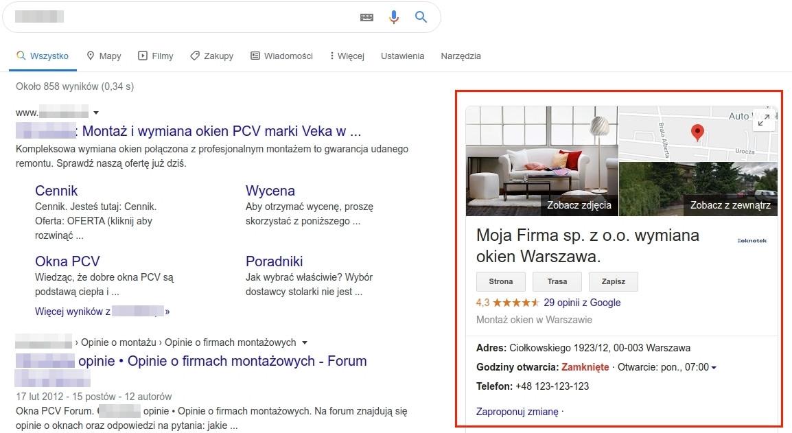 Informacje kontaktowe w wynikach wyszukiwania Google