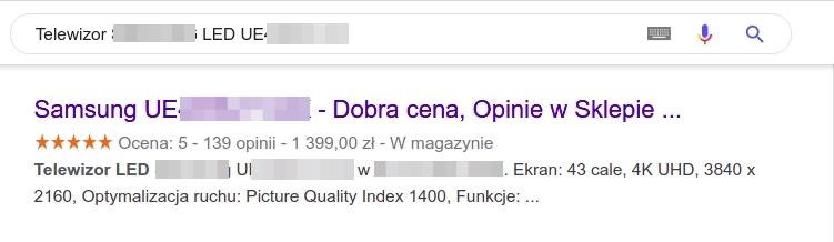 Przykład karty produktu w wynikach wyszukiwania Google