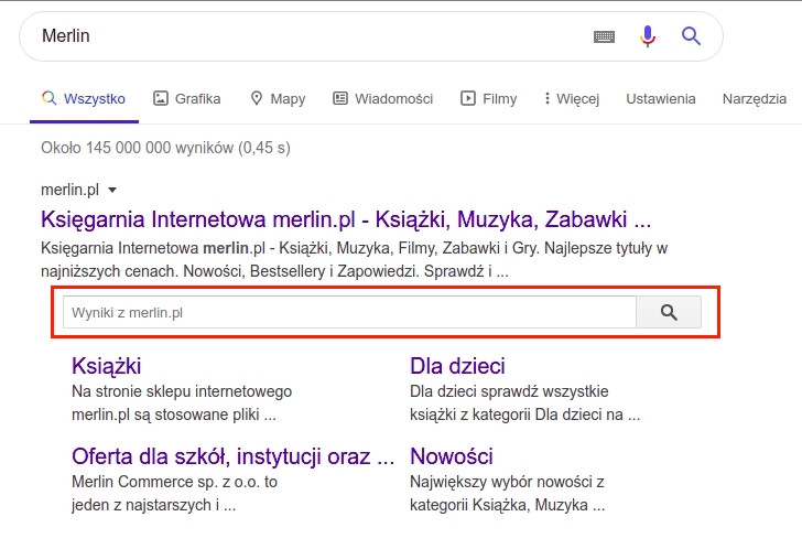 Serach box w wynikach wyszukiwania Google