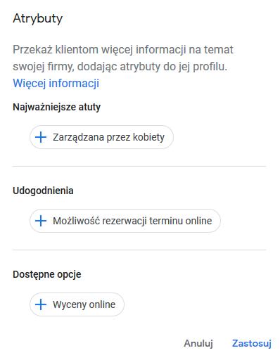 atrybuty i udogodnienia w Google Moja Firma