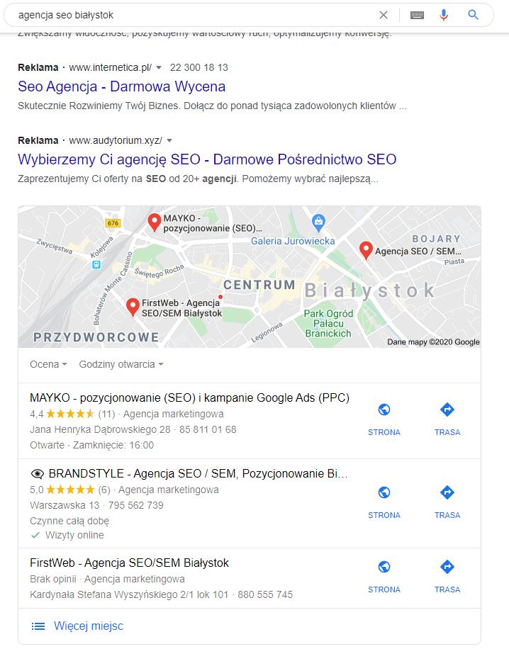 wyniki wyszukiwania Google Moja Firma