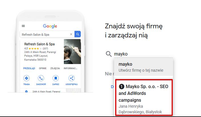 Wyszukiwanie firmy w Google Moja Firma