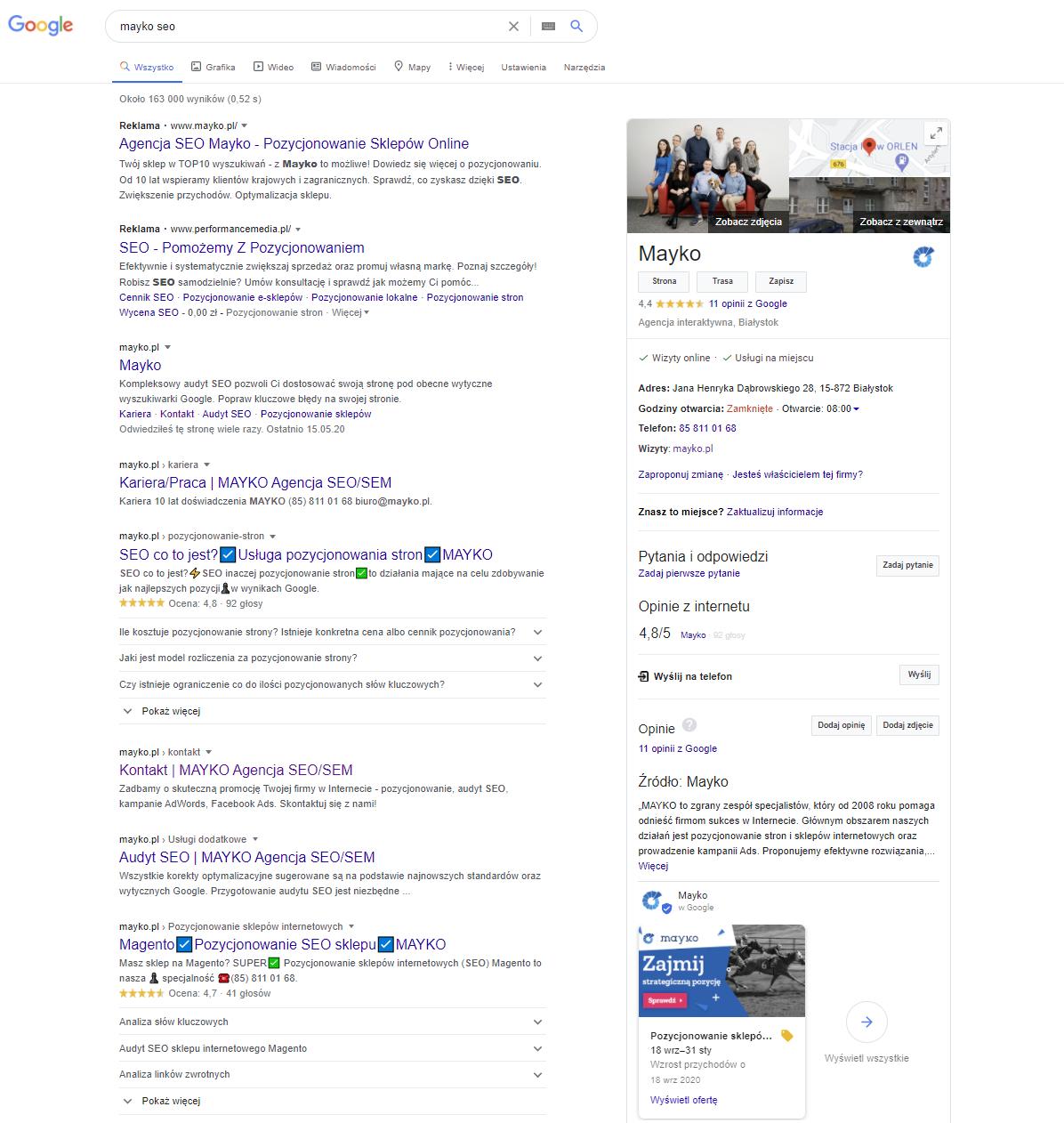 Wizytówka Google Moja Firma w wynikach wyszukiwania