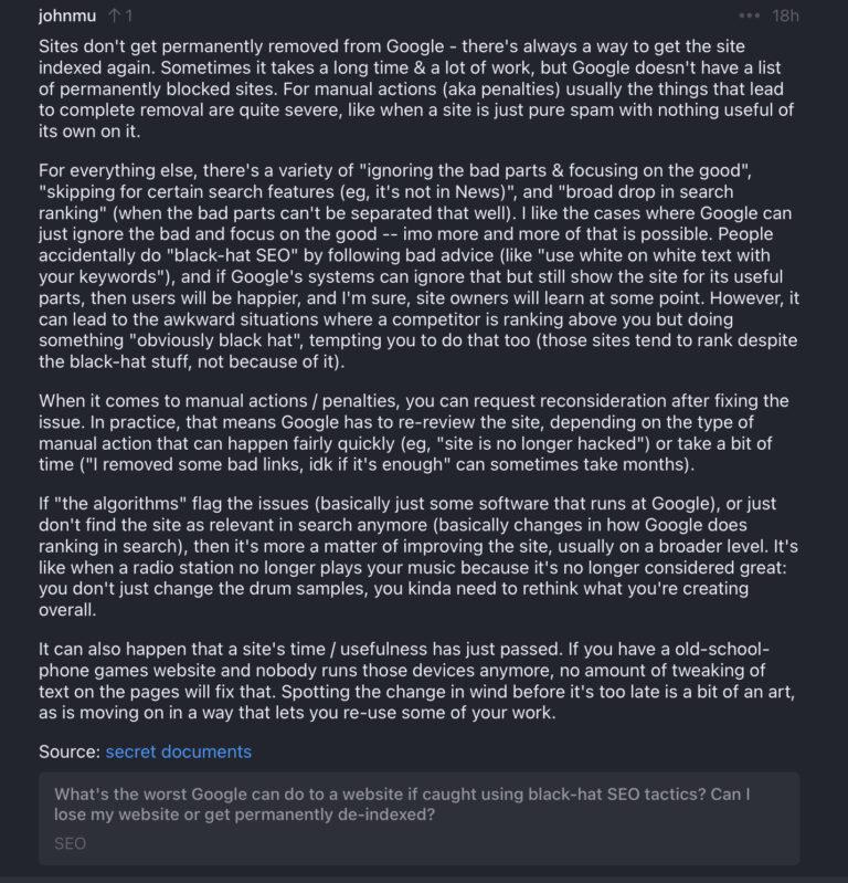 Wypowiedź Johna Muellera o karach Google