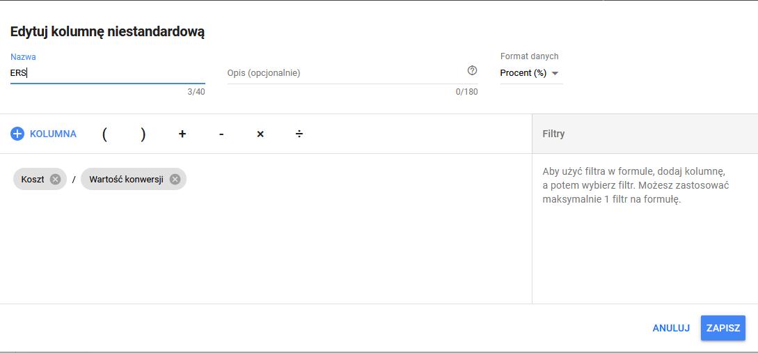 Dodawanie wskaźniku ERS w systemie Google Ads