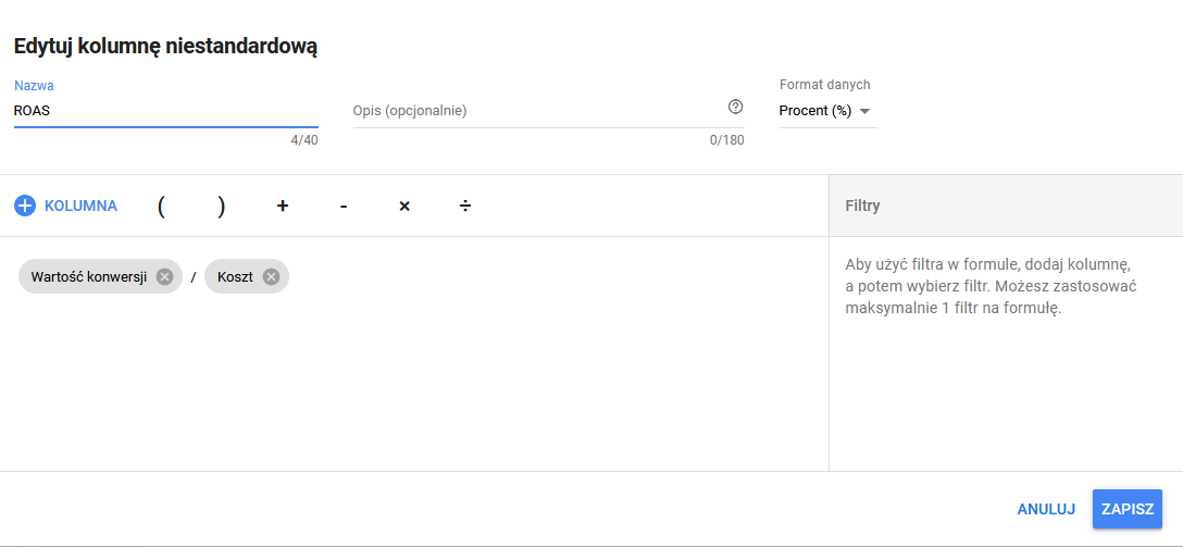 Dodawanie wskaźnika ROAS w systemie Google Ads