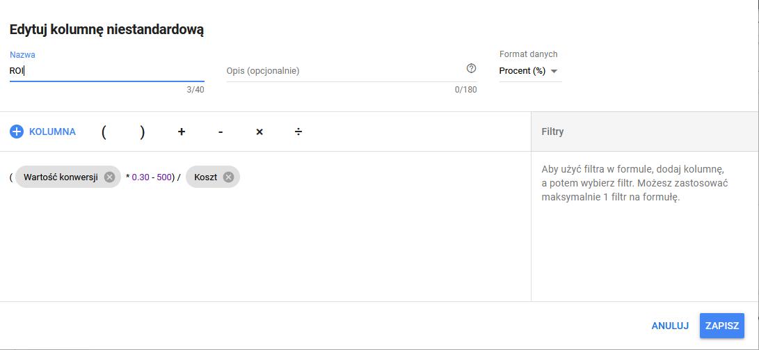 Dodawanie wskaźnika ROI w systemie Google Ads