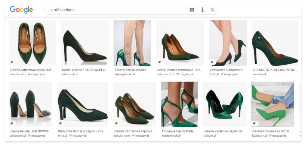zielone szpilki w graficznych wynikach wyszukiwania Google